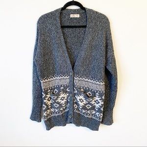 Hollister Fair Isle Longline Oversized Cardigan